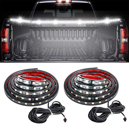 60' LED Truck Bed Light Strip, RangerRider 2PCS Waterproof Flexible High Brightness White Lighting Kit with On-Off Switch Fuse 2-Way Splitter Cable for Pickup RV SUV Vans Cargo Boats