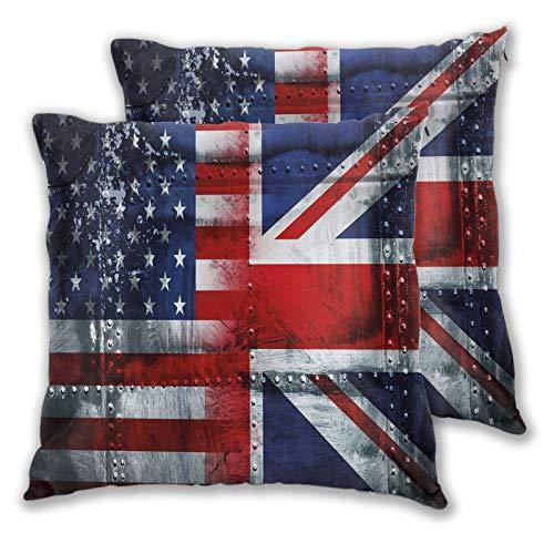 Juego de 2 Fundas de Almohada,Juego de 2,composición temática de unión de la Alianza de Reino Unido,Funda Decorativa de cojín Cuadrada para sofá,sofá,Dormitorio,Coche,16'x 16' en
