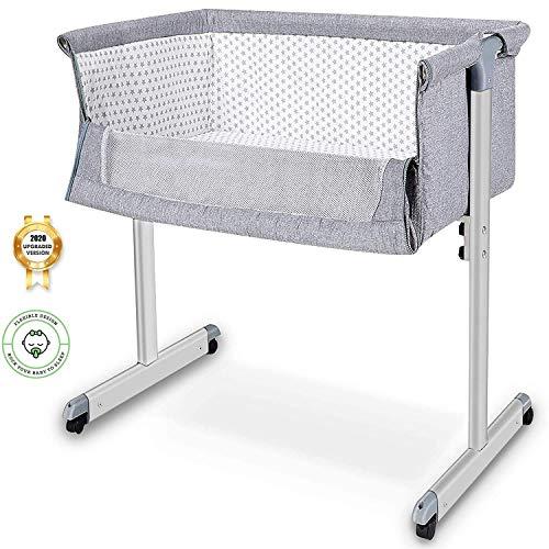 Baby Bassinet, Baby Bedside Sleeper, Newborn Baby Crib, w/Detachable & Washable Mattress, Easy Folding Movable Cradle for Newborn Infants, Bed Height Adjustable, Breathable Mesh (Dark Grey)