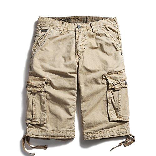 OCHENTA Men's Casual Loose Fit Cargo Shorts #3229 Khaki 32