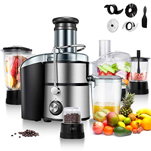 Goplus Juice Extractor 5-in-1 for Fruit, Vegetable and Meat w/Blender, Chopper, Grinder and Food Processor, Stainless Steel Centrifugal Juicer Machine