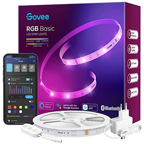 Govee LED Strip 15m Alexa, Smart RGB LED Streifen WiFi, LED Band Lichterkette App Steuerung, WLAN mit Alexa und Google Assistant, Musik Sync Farbwechsel DIY Deko für Schlafzimmer Wohnzimmer