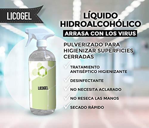 liquido HidroAlcohólico higienizante Profesional - 1bote de 1 litro con spray pulverizador dosificador
