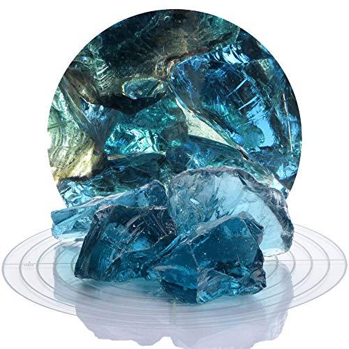 Schicker Mineral Bunte Glasbrocken Gabionen 10 kg, Glassteine 40-80 mm aus Deutschland, Glasbruch in vielen Farben (Blau)