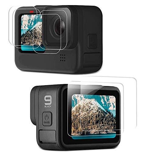 MAXKU [6Stück Panzerglas Displayschutzfolie für GoPro Hero 9 Black, 2 Stück Display HD Schutzfolien +2 Stück Hartglas Objektivschutzfolie +2 Stück Kleinem Displayschutzfolie