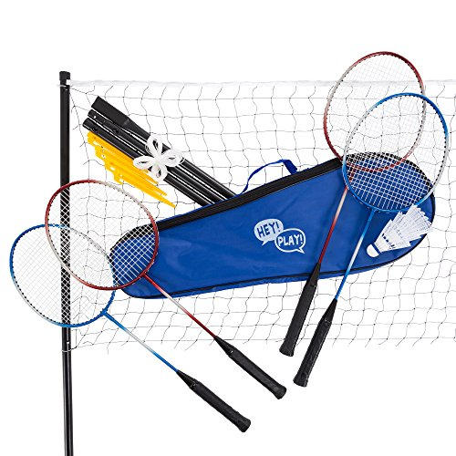 Hey! Play! Badminton Set Complete Outdoor Yard Game with 4 Racquets, Net with Poles, 3 Shuttlecocks and Carrying Case for Kids and Adults, Multi-Player