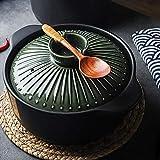 CYQ Cacerola Convexa artesana Japonesa en Terracota con Tapa Que retiene la Humedad Ollas para Sopa de guisado, diámetro 21, 22 o 23 cm, Negro-3.5L