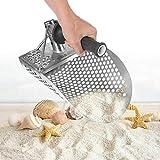 Paletta per sabbia da spiaggia con manico Strumento per rilevamento metalli, Paletta per sabbia per immersione da spiaggia in acciaio inossidabile, Pala da scavo Metal detector a setaccio rapido