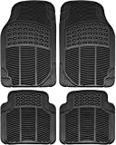 OxGord Ridged All-Weather Rubber Floor-Mats - Waterproof Protector for Spills, Dog, Pets, Car, SUV, Minivan, Truck - 4-Piece Set, Black