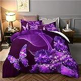 WONGS BEDDING Funda nórdica de 3 Piezas Conjunto de edredón púrpura King 3D Butterfly Star Funda de edredón de edredón Floral para niñas, Microfibra hipoalergénica Ultra Suave 220X240cm