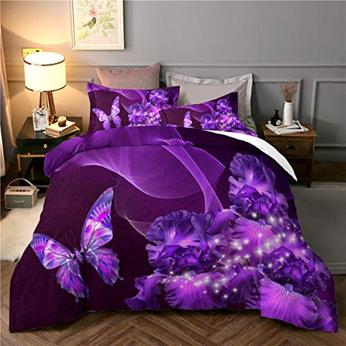 3 Pieces Purple Duvet Cover Set King 3D Butterfly Star Floral Printed Bedding Quilt Duvet Cover with Zipper Closure for Girls, Ultra Soft Hypoallergenic Microfiber 230X220cm