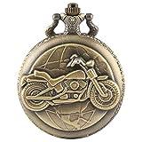 Herren Taschenuhr, Steampunk Vintage Motorrad Full Hunter Taschenuhr Kette Geschenke, Geschenk für...