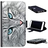 Hairyworm Grey Cat Phone Case Blue Eyed Kitten leather Side