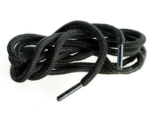 1 Paar Ringelspitz Schnürsenkel gewachst schwarz - rund - dünn - Ø 2,0 mm (75 cm)