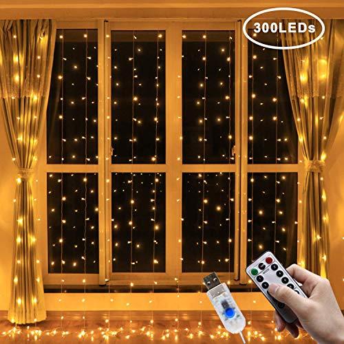 Ventdest Cortina de Luces LED USB, 3 * 3M 300 LEDs Cortinas de Luz Impermeable, 8 Modos, Blanco Cálido para Fiestas, Bodas, Casa, Jardín, Decoración Navidad, etc.