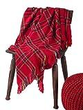 Fennco Styles Cozy Plaid Design Throw Blanket with Tassels, 50' x 60' (Red)