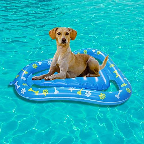Flotador de piscina para perros, flotador para gatos, red hinchable para flotador de piscina para perros, radón flotante para mascotas para juegos de agua (aguacate 47,2 x 36,2 pulgadas)