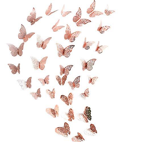 SUNFUA 48 Stück 3D Schmetterling Dekorationen mit Klebepunkten Wandtattoo Schmetterlinge für Raumdekoration (Roségold)