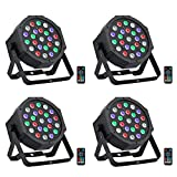 LED Stage Lights Package, OPPSK 24Wx4 LED Par Can with RGBW Color Mixing by Remote and DMX Control for Wedding Birthday Church Stage Lighting - 4 Pack