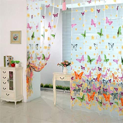 Macabolo, tenda in voile con motivo a farfalle, 1 x 2 m, stampa offset, tenda in tulle per camera da letto, soggiorno, balcone, caffetteria