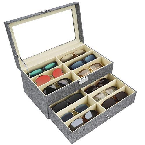 Kurtzy Caja para Gafas con Llave - Organizador de Gafas 2 Niveles y 12 Compartimentos para 12 Gafas, Gafas de Sol, Anteojos, Gafas para Leer - Organizador Gafas de Color Gris