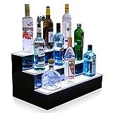 LOISK 3 Tiers Scaffale Portabottiglie LED Illuminato Bottiglia del Liquore Display Portabottiglie con Telecomando a 44 Tasti per Bar Ristoranti Case,800mm*330mm*210mm