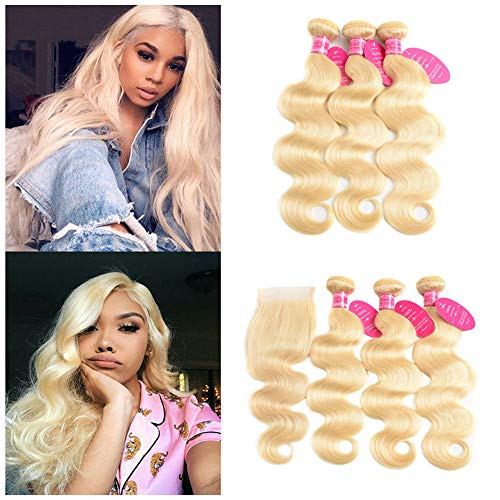 613 Blonde Bundles With Closure Brazilian Body Wave 3 Bundles With Closure Blonde Human Hair Bundles With Closure Remy Hair (20 22 24+18, 613#)