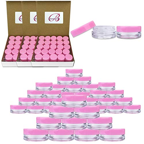 Beauticom 3G/3ML Round Clear Jars with Pink Lids for Small Jewelry, Holding/Mixing Paints, Art Accessories and Other Craft Supplies - BPA Free (Quantity: 200 Pieces)