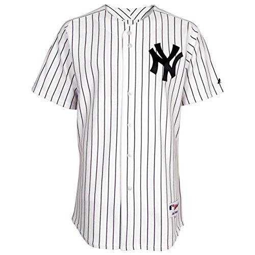 MLB Herren Trikot New York Yankees Six Button Authentic Home Jersey, Herren, Weiß/Marineblau, 40/Medium
