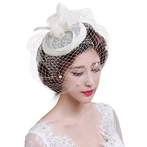 FakeFace Fascinator Hüte 20er 50er Jahre Hut Haar Clip Accessoire Haarreif Kopfbedeckung mit Schleier Cocktail Tea Party Hochzeit Kirche Haarschmuck Kopfschmuck, M, Weiß