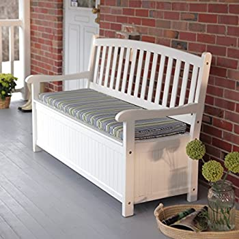 Coral Coast Pleasant Bay 4 ft. Curved-Back Outdoor Acacia Wood Patio Storage Bench