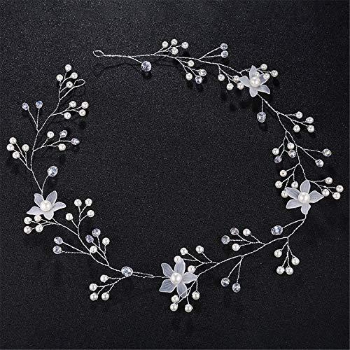 Tiara de novia hecha a mano con perlas y flores para la...