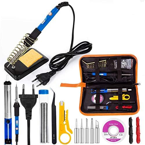 Kit de Soldador Eléctrico, Eletecpro sudor de herramientas de temperatura justierbares 60 W 220 V Soldadura de Hierro con 5 puntas de Juego de Instalación, 6 lijadora de herramientas, 2pcs electrónicos alambre y limpiador de esponja en PU Llevar bolsa