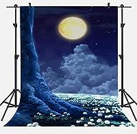 APANハロウィンパーティーフォトブースメーカーの小道具のための7x10ft夜の星空の背景に明るい月の背景