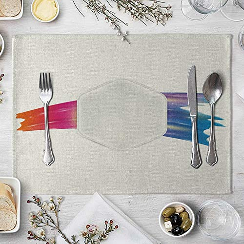 Clavie Set de Table 4 Pcs 40x30cm Tissu en Coton et Lin Gris Blanc Antidérapant Rectangulaire