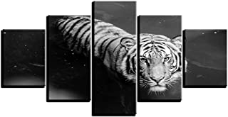 woplmh Wall Art Canvas Modern HD Printed Pictures -5 Pieces Animal White Tiger Swimming Painting Poster Home-40x60cmx2 40x80cmx2 40x100cmx1 / no Frame