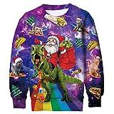 Funnycokid Teens Ugly Sweatshirt Christmas 3D Xmas Dinosaur Santa Claus Fleece Sweater Shirt Hip-hop Boys Girls Xmas Party Costume 13-16 Years