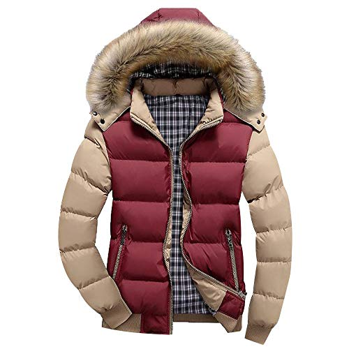 MODOQO Men's Hooded Jacket Casual Warm Puffer Down Coat with Fur Hood for Winter (4XL, Red)