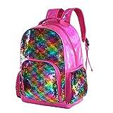 Holographic Sequin School Backpack Bookbag for Girls Kids Casual Bling Magic Mermaid Book Bag Back Pack