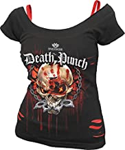 Spiral - Womens - 5FDP - Assassin - Licensed Band 2in1 Red Ripped Top Black - M