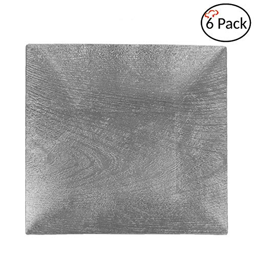 Tiger Chef Silver Charger Plates - Square Plate Chargers for Dinner Plates - Wedding Décor Placemats Wooden Texture Set of 6