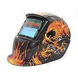 Oscurecimiento automático con energía Solar TIG MIG MMA Máscara de Soldadura eléctrica Casco Soldador Tapa Lente para máquina de Soldadura Cortador de Plasma (Color: Gris Oscuro y Rojo)