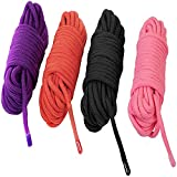 KINJOEK 4 Ropes 10M 32Ft Extra Long Premium Cotton Rope No Fraying Black Red Pink and Purple