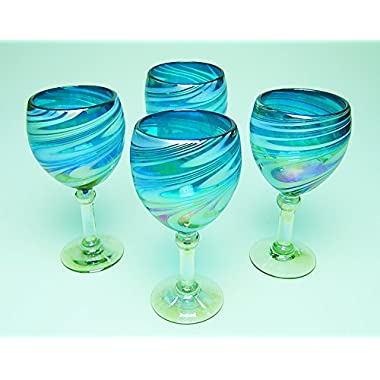 Wine Glasses Hand Blown Glass Turquoise & White Iridescent Swirl, 12 oz Set of 4