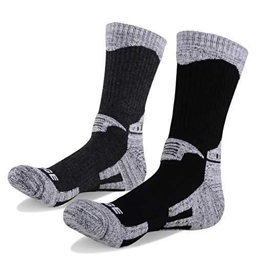 YUEDGE Men's 2 Pairs Wicking Cushion Cotton Crew Socks Outdoor Sports Performance Hiking Socks(XL)