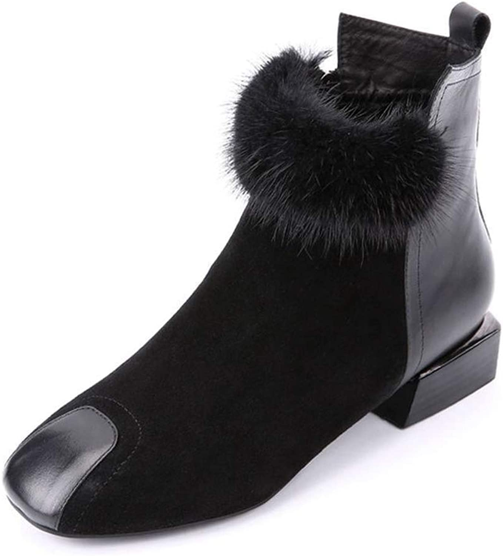 Hoxekle Women Snow Boots Female Winter shoes Warm Square Mid Heel Top Fur Ankle Boots Platform Zipper Casual