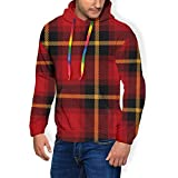 Men's Graphic Print Hoodie Scottish Cell Faux Fur Lining Sweatshirts Pullover