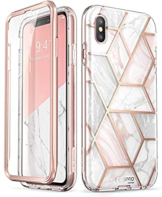 i-Blason Cosmo Series Designed for iPhone Xs Max Case 2018 Release, Full-Body Bumper Case with Built-in Screen Protector, Marble, 6.5