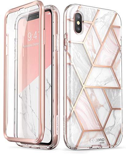 Cover iPhone Xs Max, i-Blason Custodia Brillantini e Protezione Schermo Integrata [Serie Cosmo] Glitter Case Compatibile con Apple iPhone Xs Max 2018, Marmo