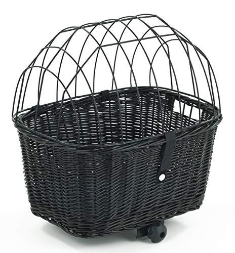 Tigana - Hundefahrradkorb für Gepäckträger aus Weide mit Gitter 44 x 34 cm Eckig Schwarz (S-S) (mit Kissen)